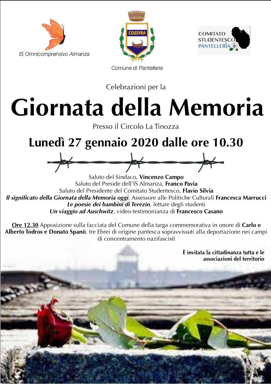 GIORNATA DELLA MEMORIA: LUNEDI 27 GENNAIO 2020